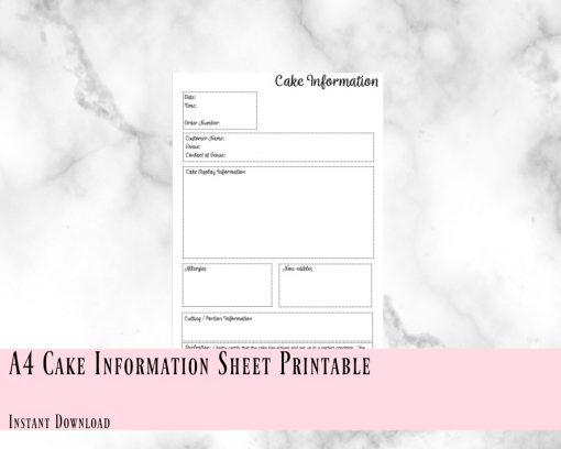 Cake Information Sheet Printable